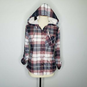 Polly & Esther NWT Plaid Hooded Button Down Top